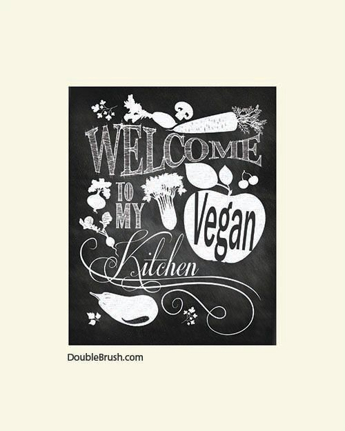 Vegan Kitchen Decor Chalkboard Art Blackboard Print Vegetarian Typography Black And White Chalk Vegetables
