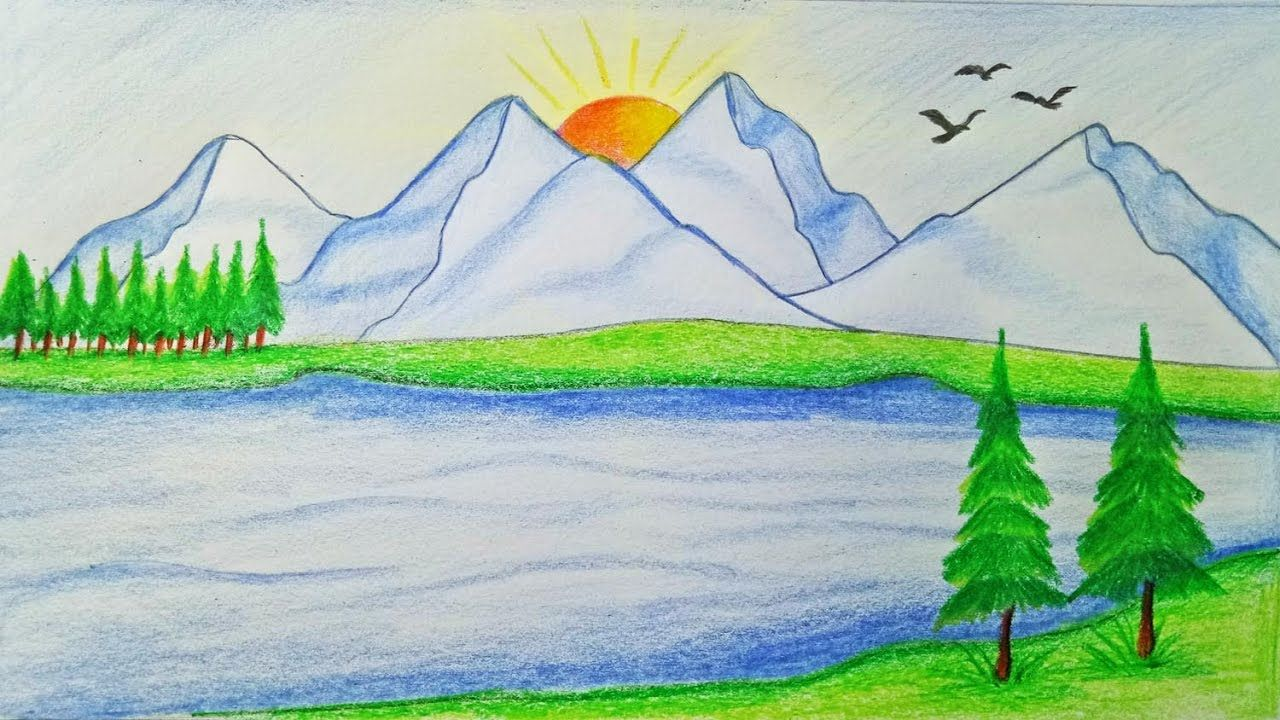 How To Draw Scenery Of Mountain Step By Step Very Easy Youtube Drawing Scenery Nature Drawing Nature Drawing Pictures