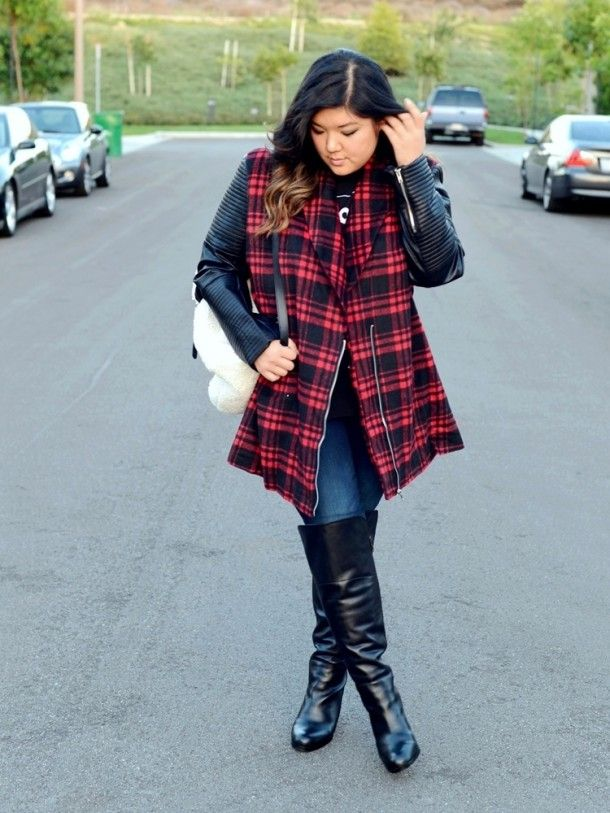f62cca069f7 Curvy Girl Chic looks super cool in a plaid and leather sleeve jacket with  over the knee boots. Perfect look for a daytime movie date.