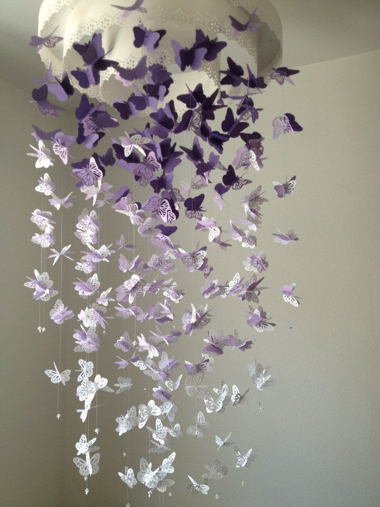 Diy butterfly mobile butterfly chandelier mobile - Paper Lace Chandelier Monarch Butterfly Mobile Purple And White Mix Baby Nusery Shower Gift