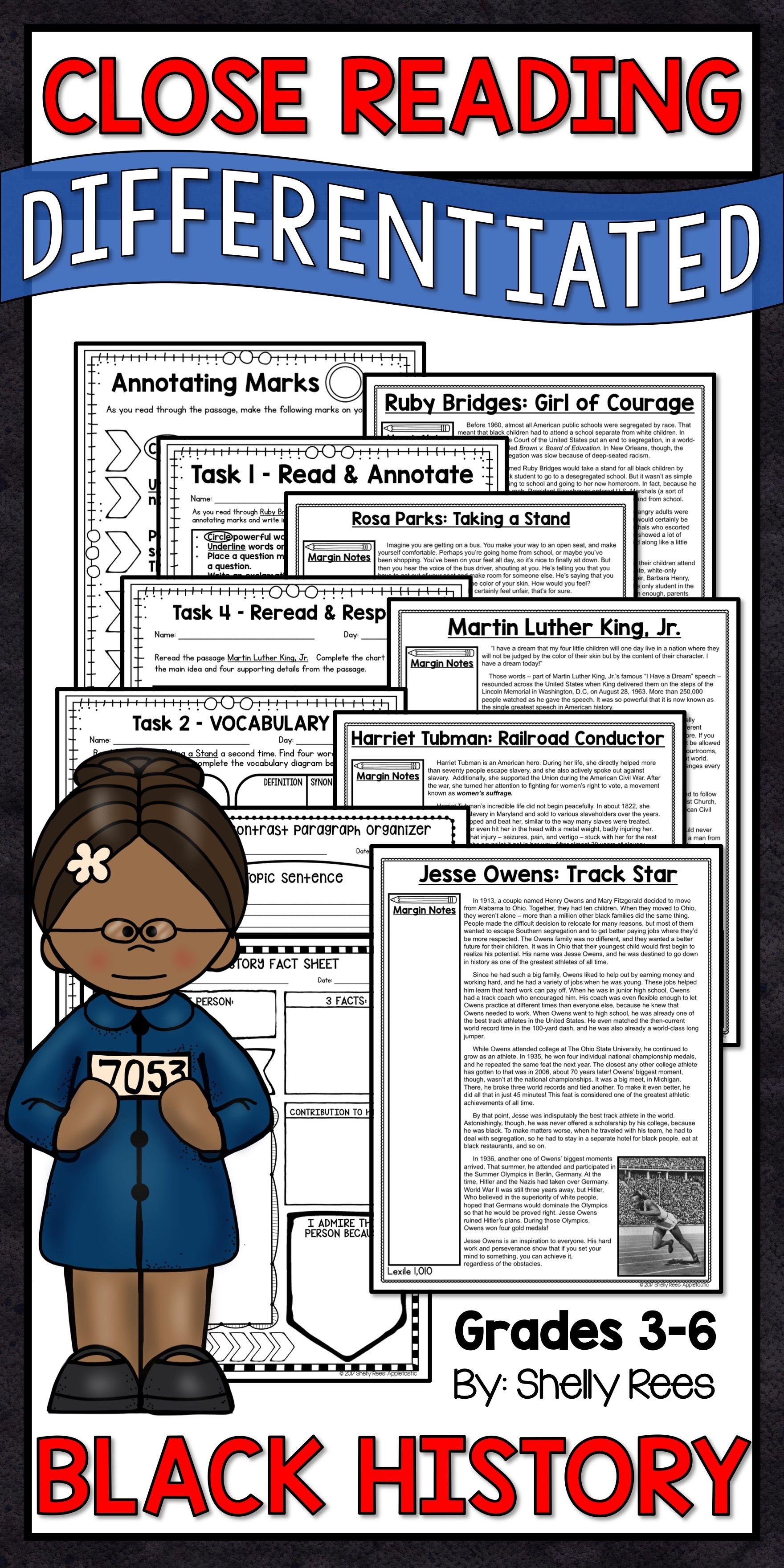 worksheet Jesse Owens Reading Comprehension Worksheets black history month reading passages differentiated about ruby bridges rosa parks martin luther king jr harriet tubman and jesse owens