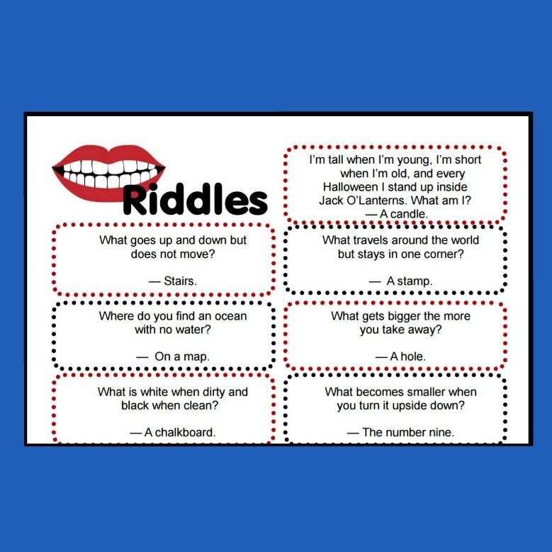 Slobbery image within riddles for kids printable