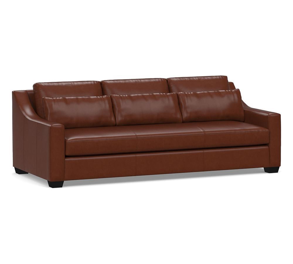 Sensational York Deep Seat Slope Arm Leather Sofa 80 With Bench Cushion Gmtry Best Dining Table And Chair Ideas Images Gmtryco