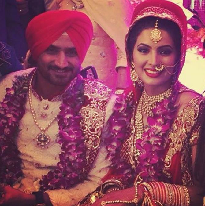 During Their Wedding Ceremony Pic Courtesy Harbhajan Singh S Instagram Account Bollywood Celebrities Singh Bollywood