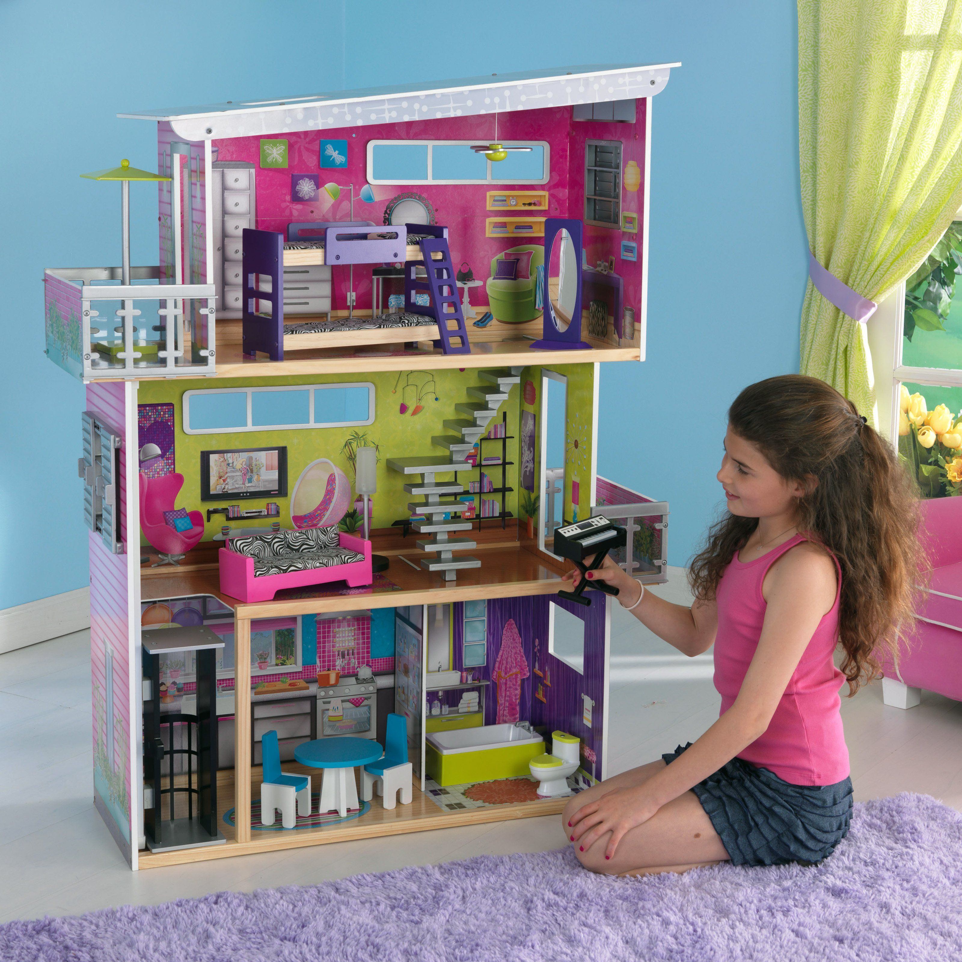 Kidkraft Modern Mansion Dollhouse With Lights And Sounds Www Hayneedle Com Barbie Doll House Barbie Dream House Modern Dollhouse