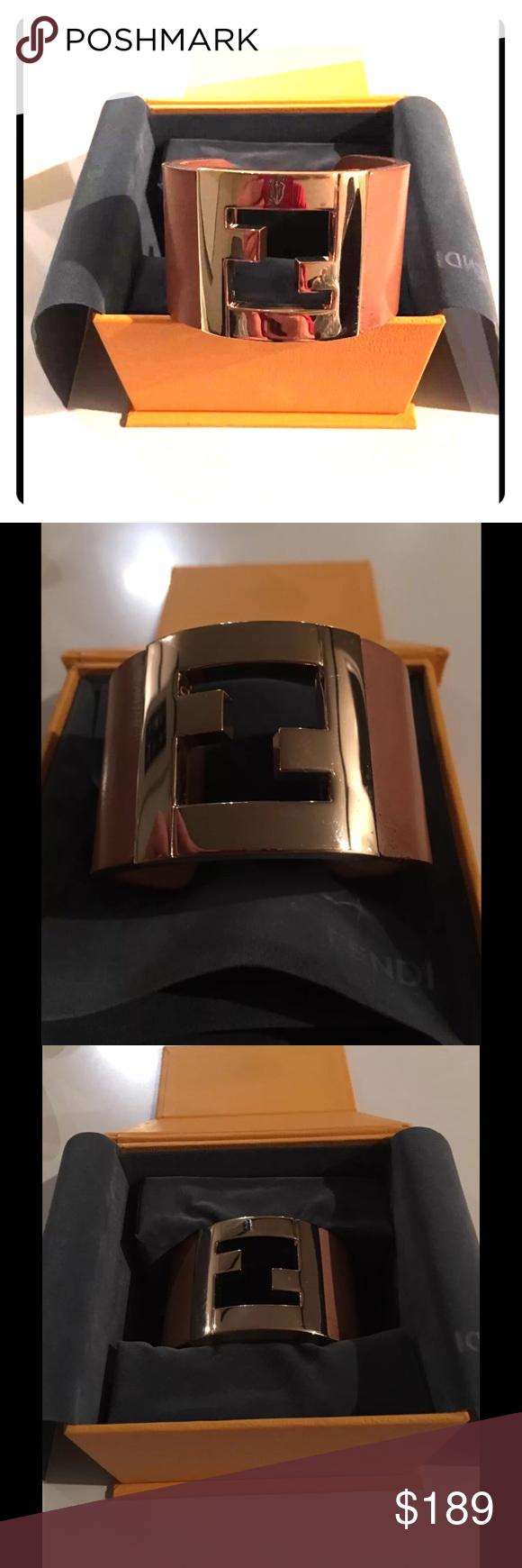 30a2a06278d Fendi Tan Gold Bracelet Cuff
