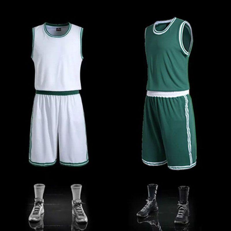 147ed68ff Team Uniform Mens Blank Basketball Jerseys Sports Training Shirt Short Sets  Male Basketball Clothes White Green
