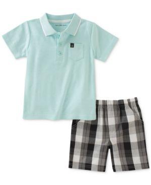 53381c27675c Calvin Klein 2-Pc. Polo   Plaid Shorts Set