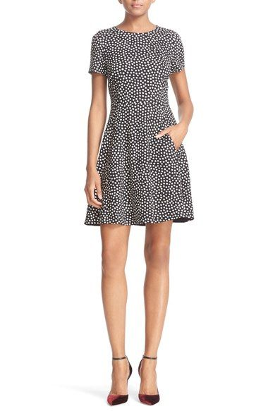 cc7fc53d1f0 kate spade new york spot print ponte fit   flare dress available at   Nordstrom