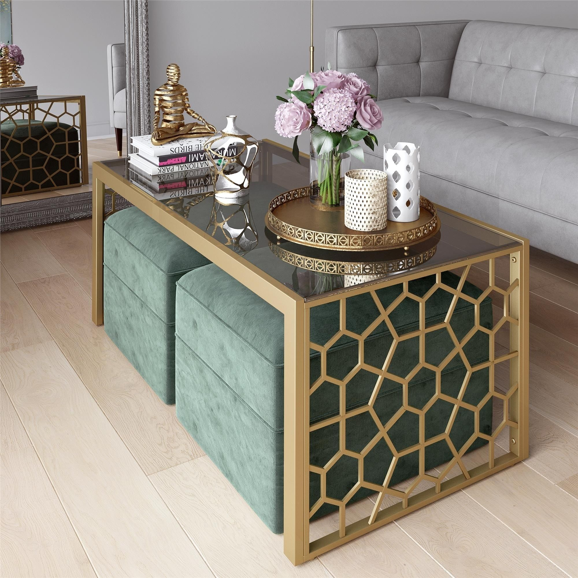 Cosmoliving By Cosmopolitan Juliette Coffee Table And Two Ottomans