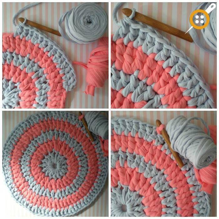 Fabrication de tapis en coton peigné – Comment tricoter un tapis rond en fil de coton peigné?   – Denenecek projeler