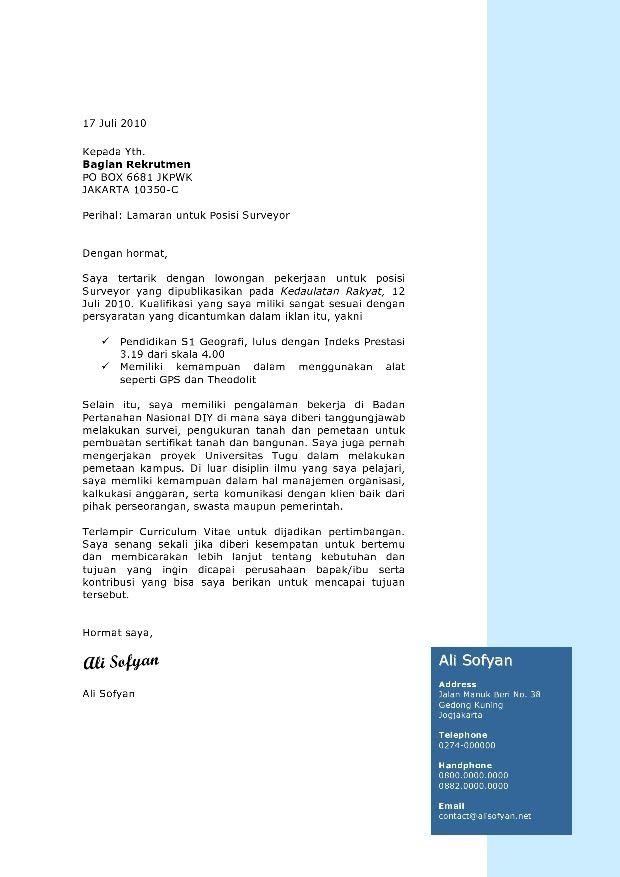Contoh Surat Lamaran Kerja Surveyor Ben Jobs Cv Template