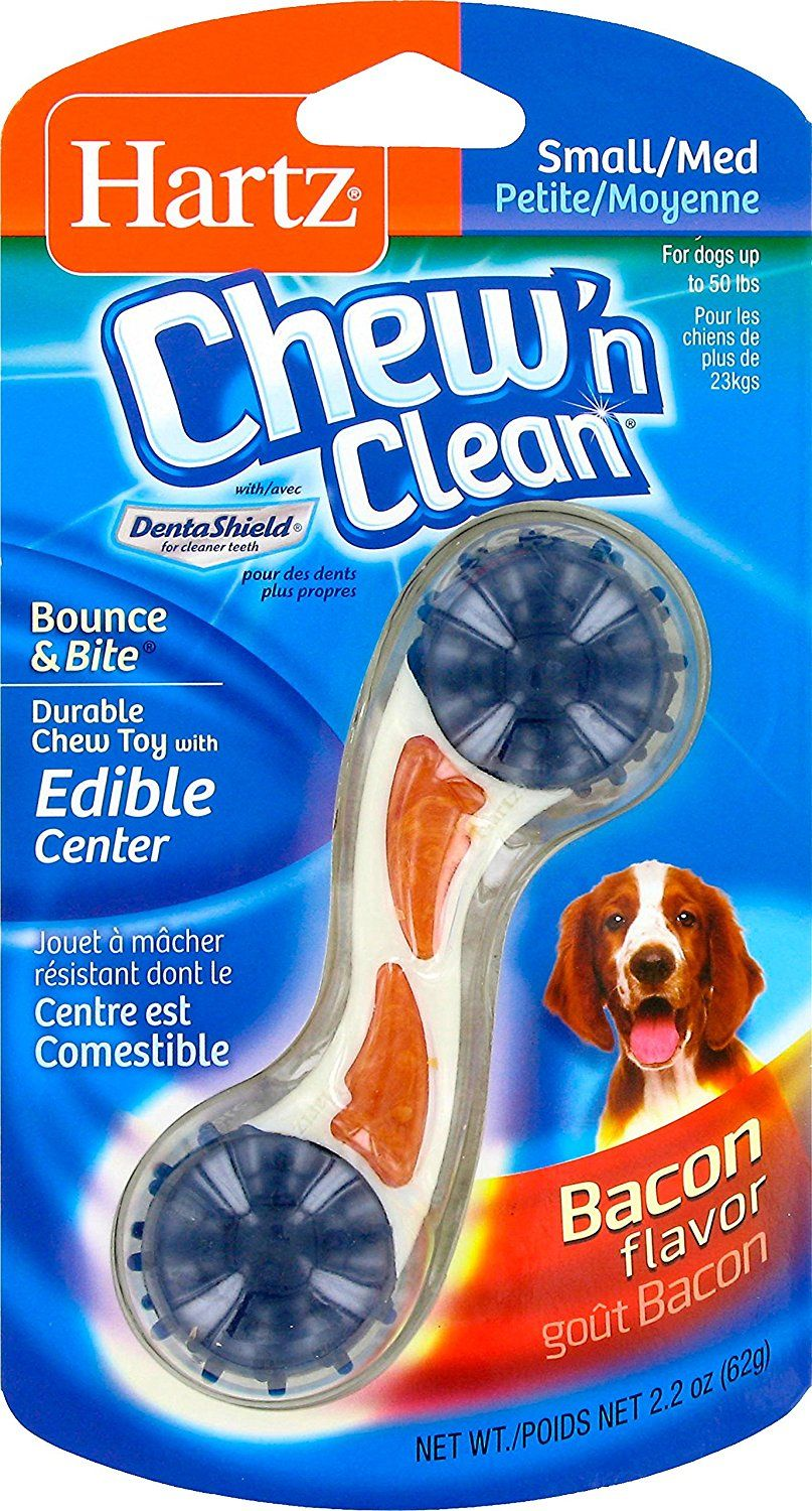 Hartz Chew N Clean Bounce And Bite Dog Toy Bacon Flavor Small
