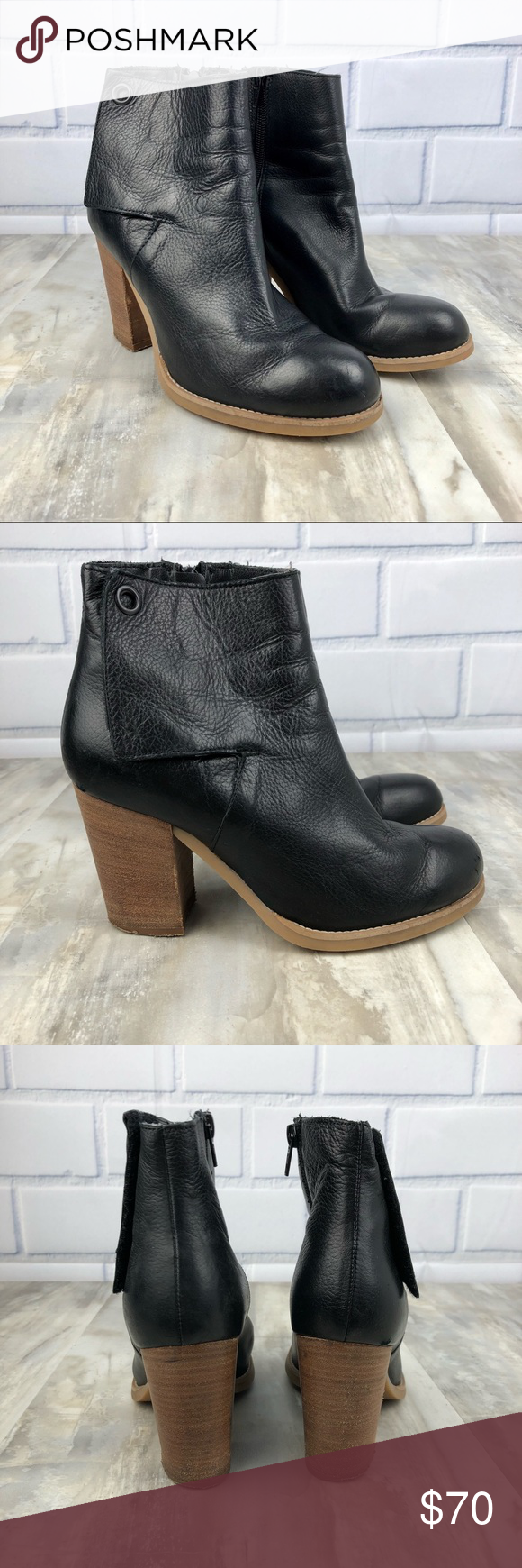 """Sisley Leather Ankle Boots Heels Size 39 Women s Sisley Leather Ankle Boots  Size 39 Black Leather 3.5"""" heel Inner side zip No box No smoking home Sisley  ... c64ce99ff"""