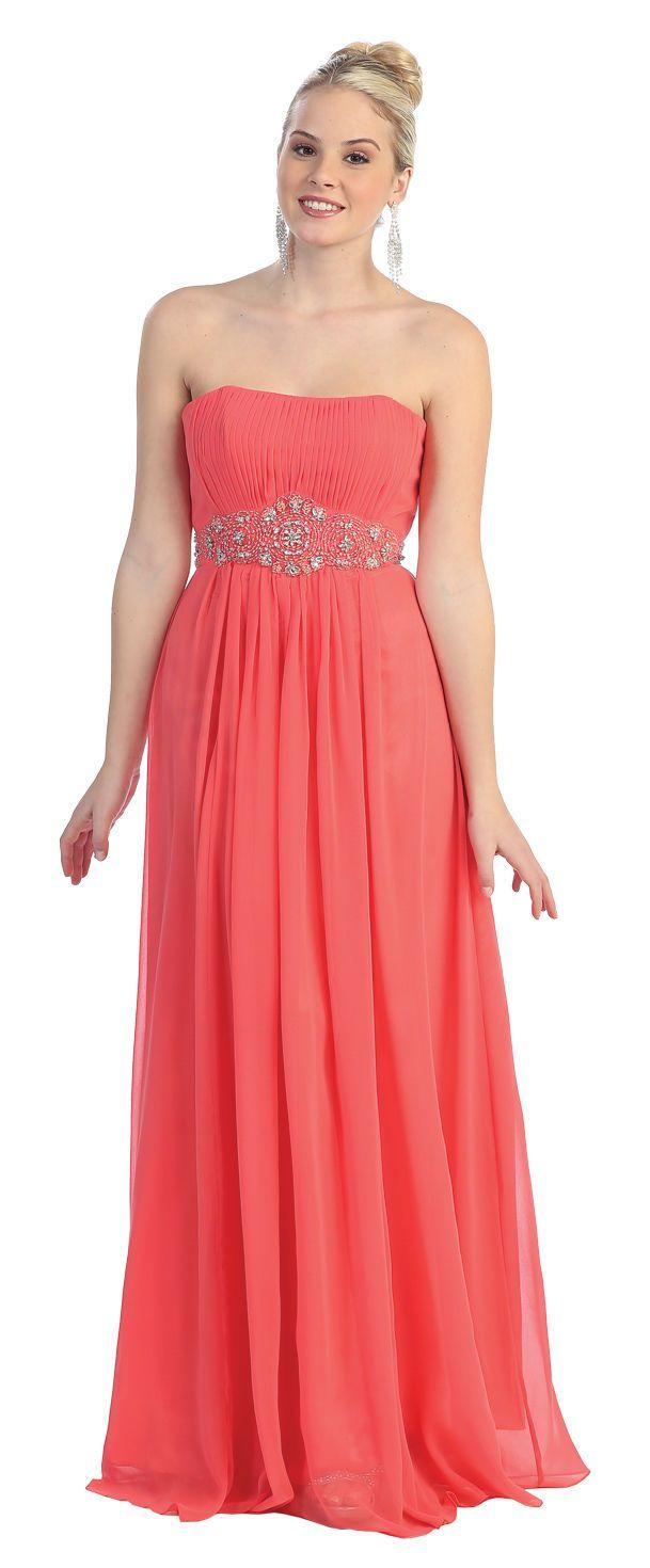 Simple bridesmaid strapless chiffon prom plus size formal evening