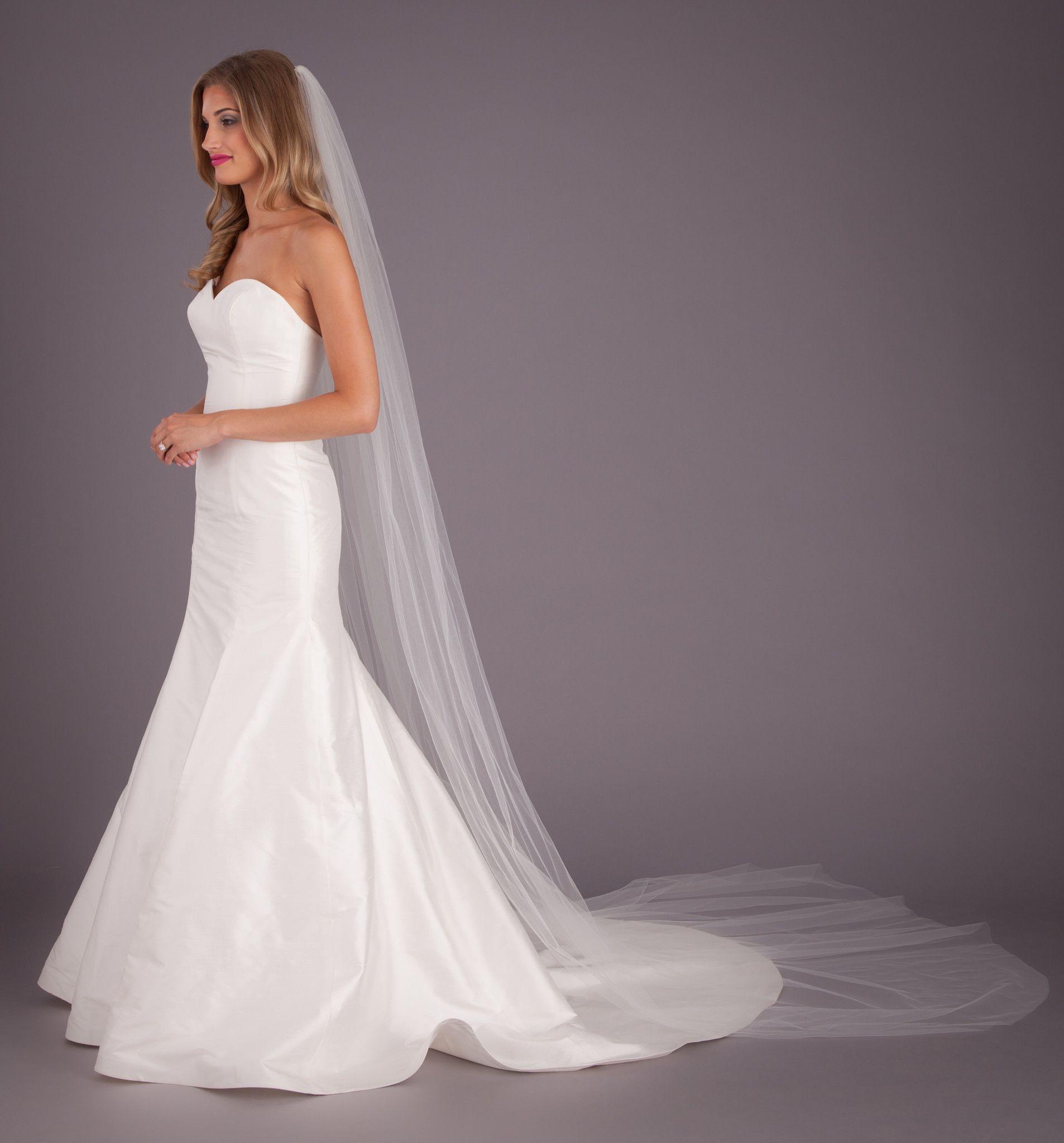 Lily Veil Elegant Wedding Hair Simple Veil Cathedral Length Wedding Veil [ 2048 x 1906 Pixel ]