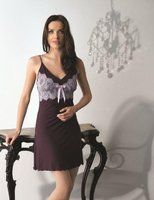 Vanilla Plum Short V-Neck Night Gown - Gabriella Sandham Lingerie & Swimwear