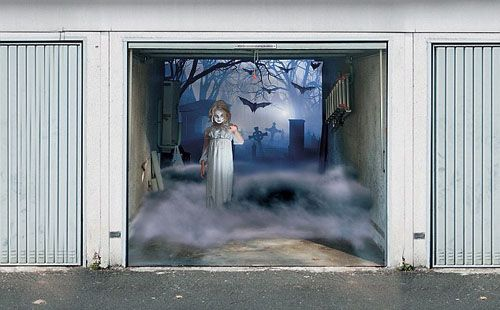 7 Scary Garage Door Cover with Creepy Halloween 3d Decoration - halloween garage ideas