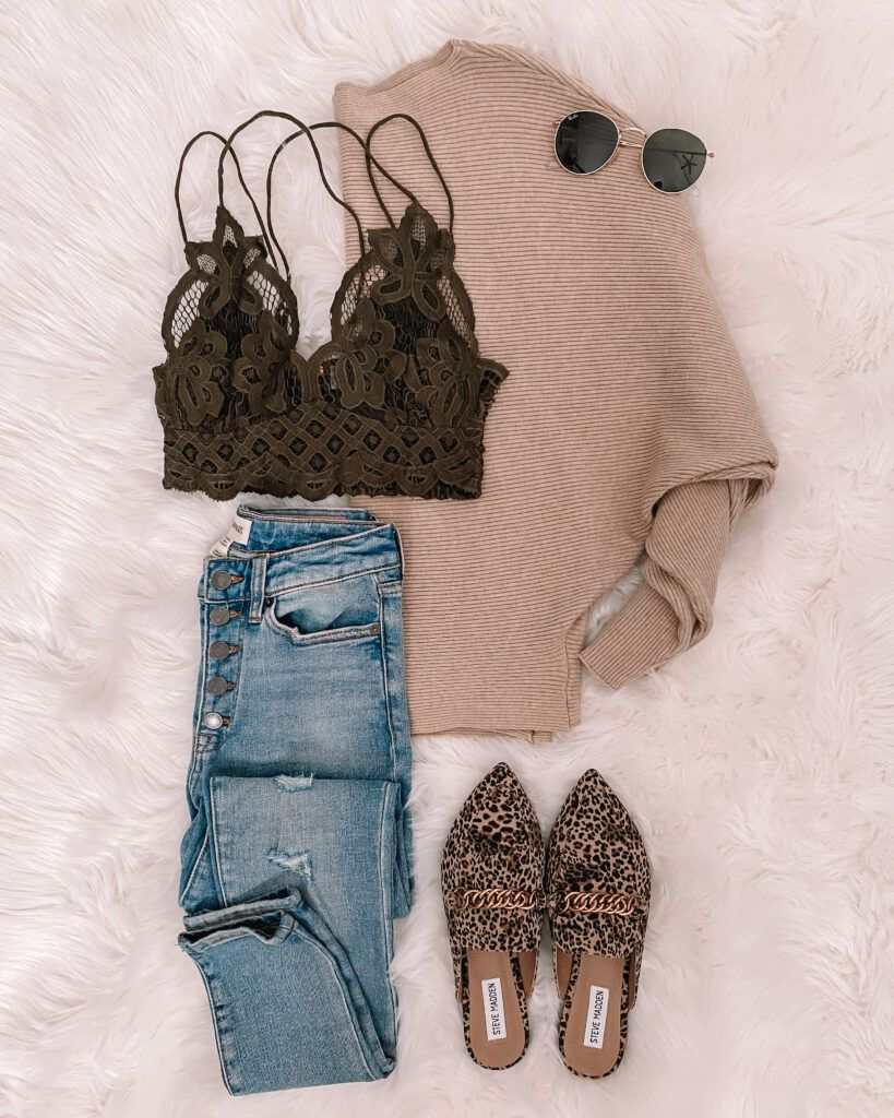 IG: @mrscasual | beige sweater, olive lace bralette, distressed jeans, & leopard mules