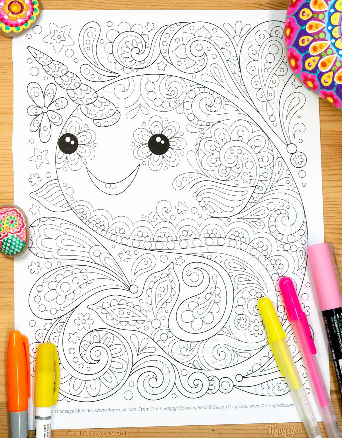 Narwhal coloring page from Thaneeya McArdle\'s Think Happy ...