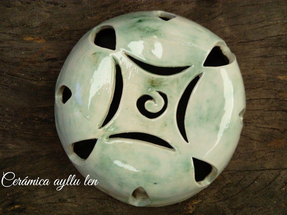 Aplique Redondo Ceramica Calada Taller Ayllu Len Lamparas De Ceramica Lamparas