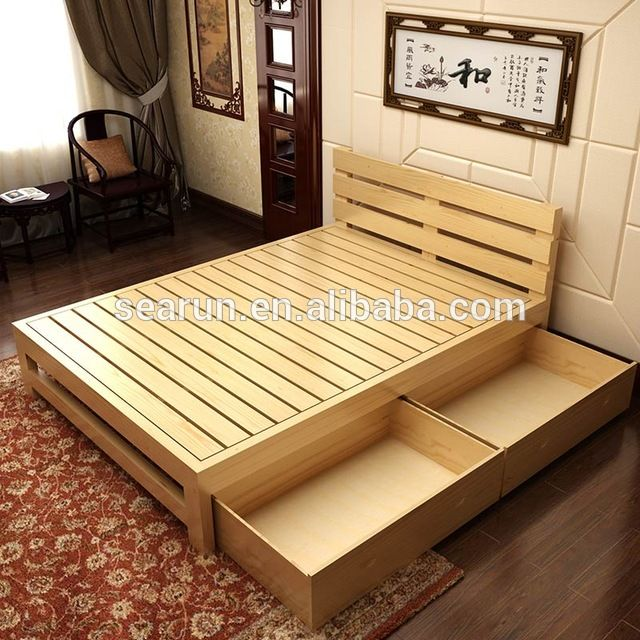 Source Solid wooden double bed with box,teak wood modern ...