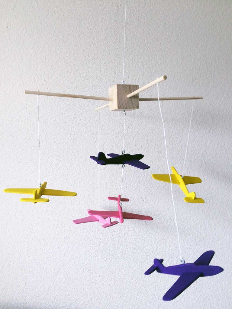 How To Make A Diy Wooden Airplane Mobile For Your Nursery