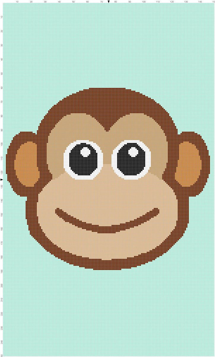 Baby Monkey Crochet Afghan Graph Pattern - Crochet / knit / stitch ...