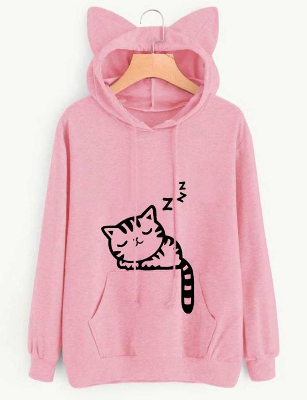 08bcde71e99 KEYEE Cute Cat Sweatshirt Women Teen Girls Cotton Hoodie Sweater Pullover  Tops with Pocket L Pink   Click image for more details.