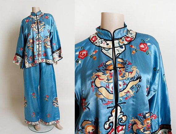 3c50f15aae Vintage Chinese Pajamas - Sky Blue Silk MONKEY Dragon Floral Embroidered  Lounge Jacket Pyjamas Pants - Antique Set by zwzzy