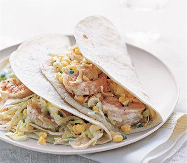 A Month of 400-Calorie Dinners (shrimp-tacos-citrus-cabbage-slaw)