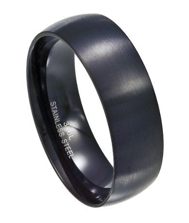 Black Stainless Steel Wedding Band MSS0081 Black stainless steel
