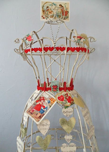 My cherished dress form adorned as the Queen of Hearts with vintage valentines!