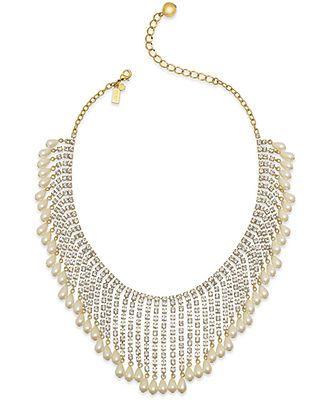 kate spade new york Gold-Tone Imitation Pearl Spray Necklace