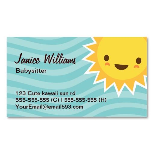 Cute Kawaii Sun Cartoon Character Aqua Babysitter Business Card Zazzle Com In 2021 Babysitter Business Cards Creative Business Cards