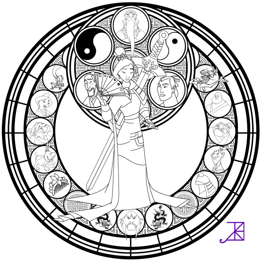 Mulan stained glass line art by akiliamethyst on deviantart