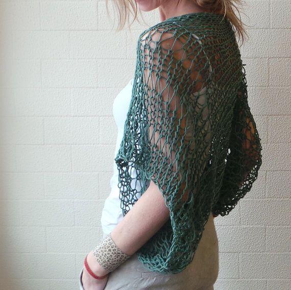 Green Shrug / Emerald green Eco cotton loose knit hand knit shrug ...