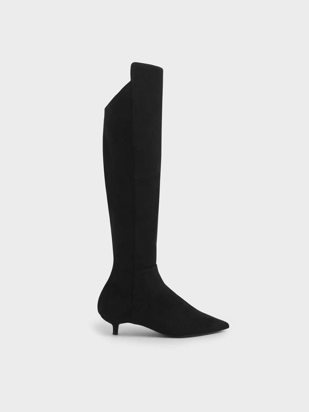 Taupe Textured Kitten Heel Knee High Boots In 2020 Kitten Heel Boots Boots Taupe Knee High Boots