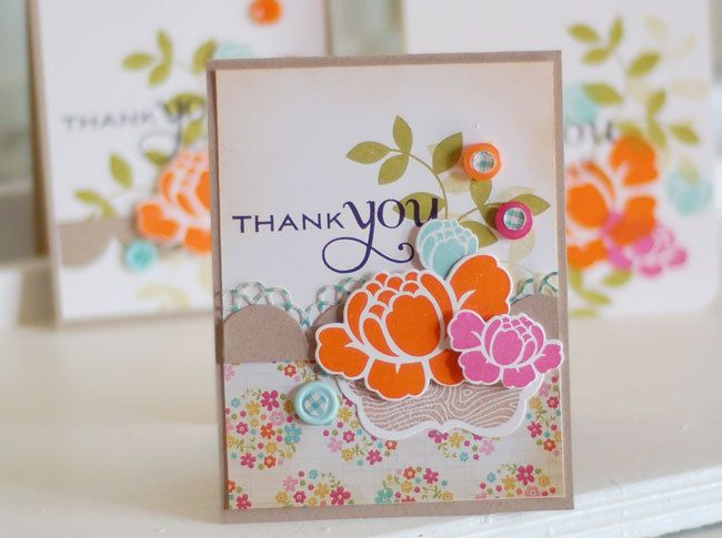 Country Floral Thank You... Handmade Greeting Card