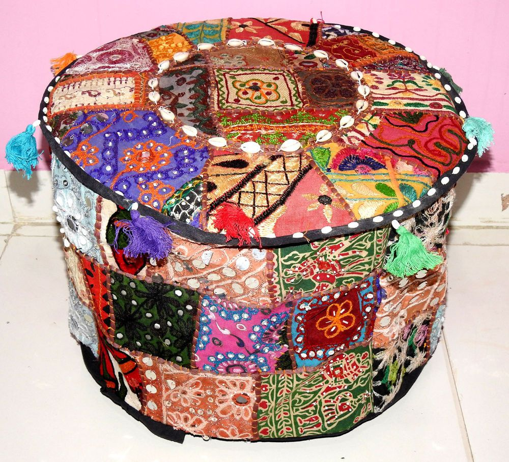 HANDMADE ROUND SEATING POUF COVER FOOT STOOL BOHEMIAN PATCHWORK OTTOMAN UNFILLED…