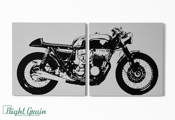 Beautiful Cafe Racer Motorcycle Wall Art   Vintage Garage Decor In Custom Colors | # Motorcycles #picture #artwork