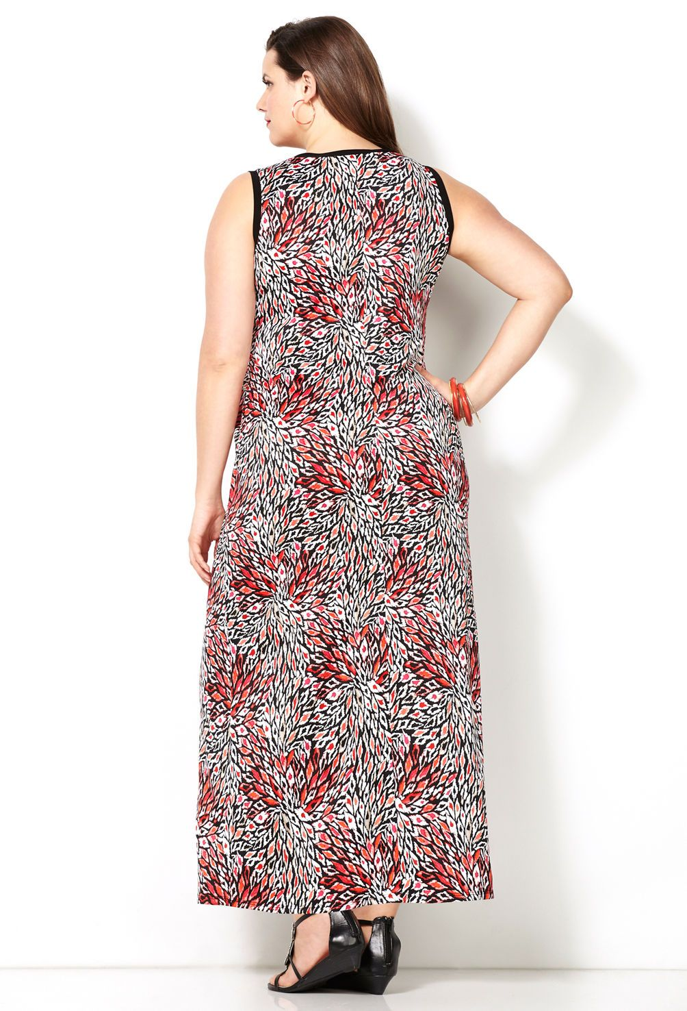 Coral Burst Maxi Dress-Plus Size Dress-Avenue | Sarah Slick ...