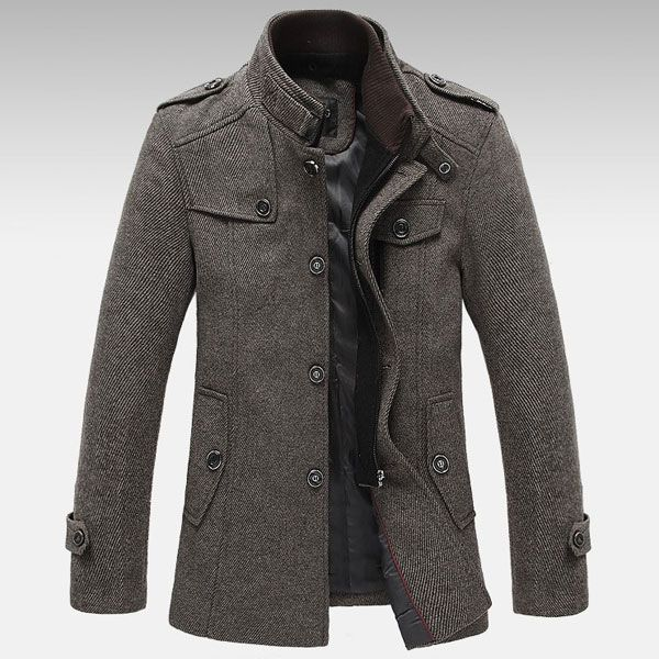 Mens Knitted Stand Collar Wool Blend Tweed Coats Long Jackets ...
