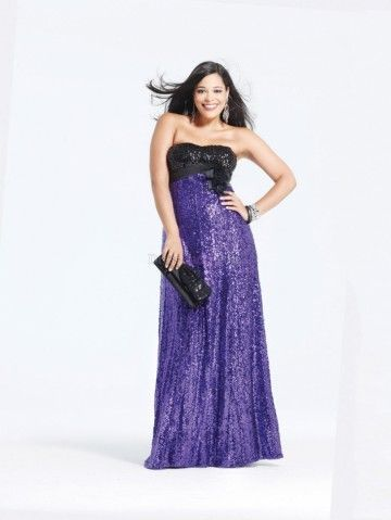 purple plus size strapless sleeveless long/floorlength