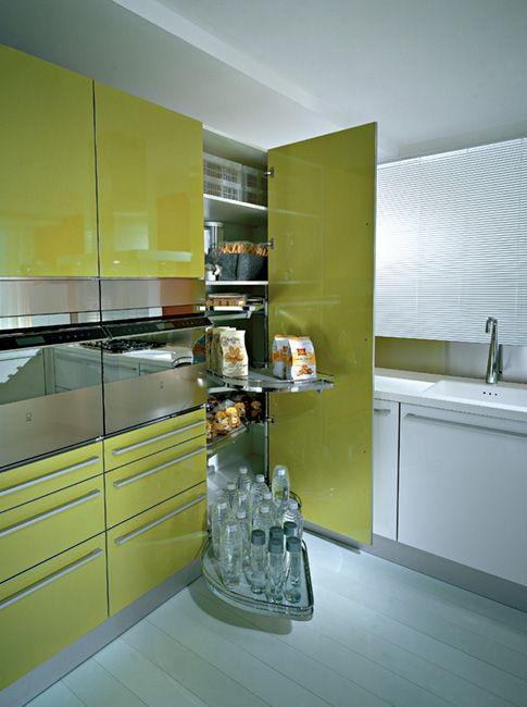 Tall Corner Unit With Lemans Pullout Shelves, By Pedini.