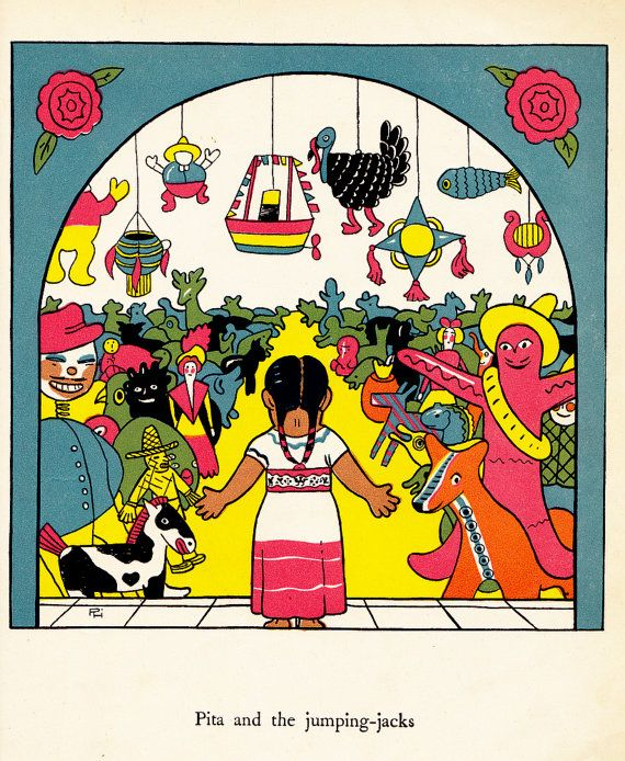 vintage kids Mexican book The Painted Pig by OnceUponABookshop | Vintage Children's Book