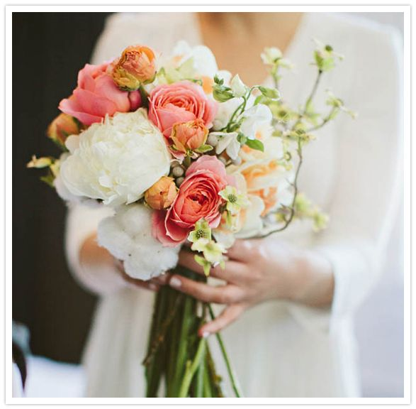 ranunculus peonies daffodils garden roses dogwood cotton bouquet