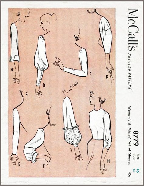 Vintage Sewing Pattern 1950s 50s sleeve set 8 styles bust 34 b34 ...