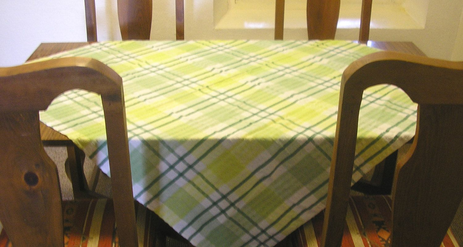 Vintage Seersucker Table Cloth Square Mint Emerald And Lime Green Squares  Checks Gingham Retro Housewares Tablecloth Ireland