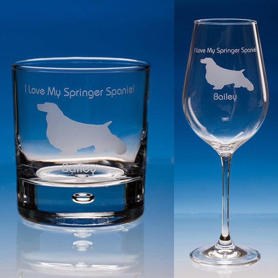 Springer Spaniel Dog Lover Gift Personalised Engraved Fine Quality Wine Glass